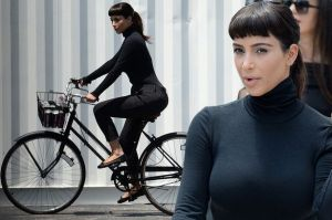 Kim Kardashian impersonating Audrey Hepburn